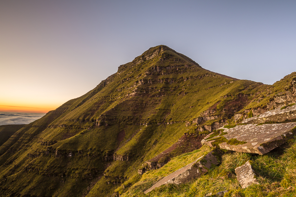 Pen Y Fan North face at sunrise